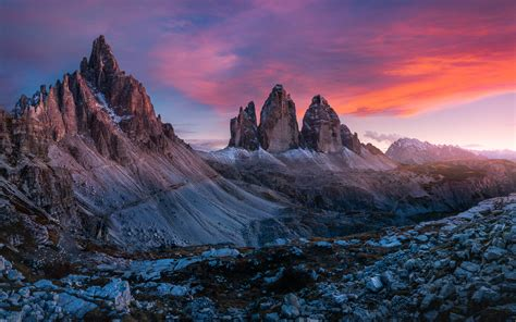 Dolomites Italу Tre Cime Di Lavaredo Sunset Landscape