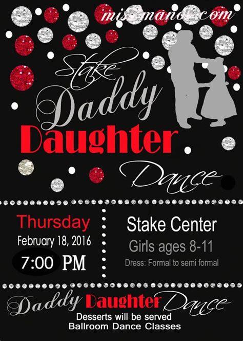 daddy daughter dance celebration red  black invitation
