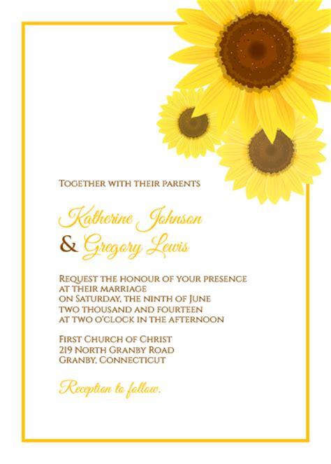 sunflower wedding invitation rsvp templates wedding
