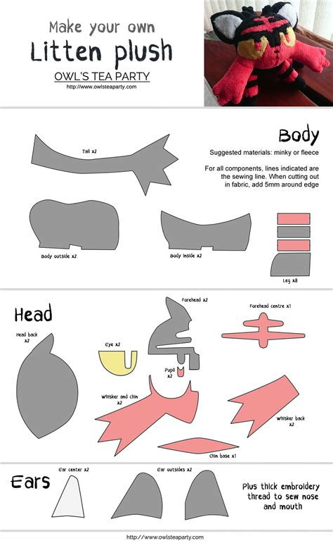 Felt Plushie Templates by Litten Plushie Sewing Template Owl S Tea