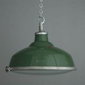 Vintage english factory lights with convex glass enamel