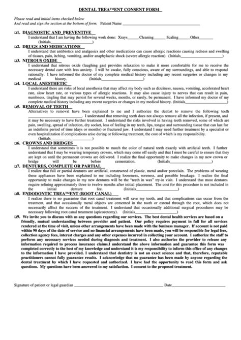top  dental treatment consent form templates