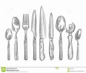 Messer Und Gabel : kochen von hand gezeichneter satz k chenwerkzeuge l ffel gabel messer flaschen ffner ~ Orissabook.com Haus und Dekorationen