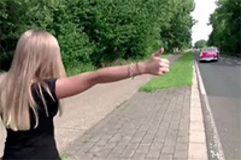 sexy blonde hitchhiker gets picked up and fucked on the car fuqer video