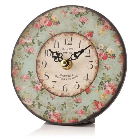 shabby chic table clock shabby chic floral table clock cabbage roses pinterest chic products and floral