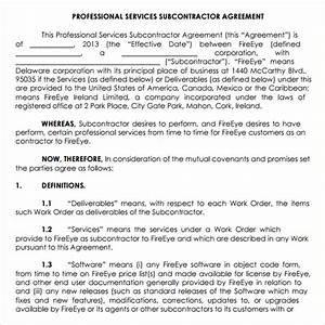 subcontractor agreement template contract agreements With contract for subcontractors template