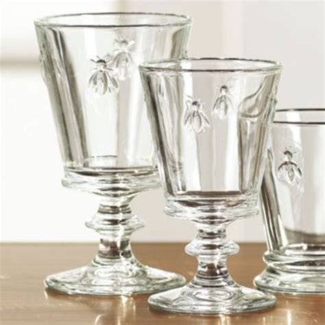 French Country Bee Crystal Glasses  Home French