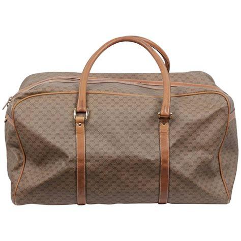 gucci vintage tan gg monogram canvas weekender travel bag  sale  stdibs