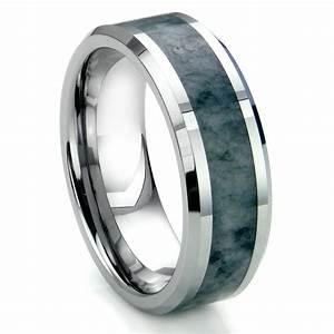 tungsten carbide grey metamorphic stone inlay beveled With inlay wedding rings