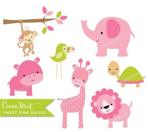 sweet pink safari clip art jungle animals   sweet