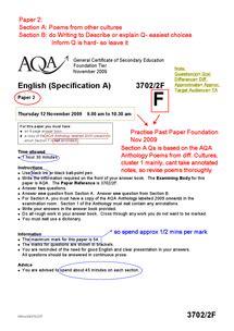 aqa gcse english language paper  revision document  gcse english