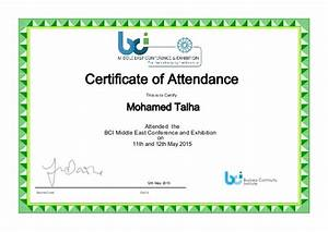 bci me conference attendance certificate With conference certificate of attendance template