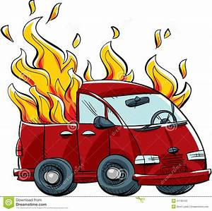 Burning Van stock illustration. Image of fire, heat ...
