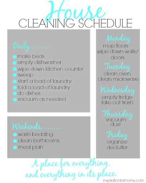 house cleaning schedule inspiration for moms