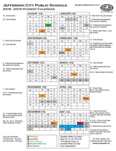 preschool jefferson city mo yearly district calendar printable 2018 19 student 436