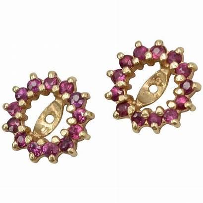 Earring Jackets Ruby Gold Genuine 14k Kitsch