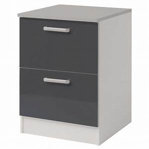 Meuble Bas A Tiroir : meuble bas 2 tiroirs 60 cm shiny gris ~ Edinachiropracticcenter.com Idées de Décoration