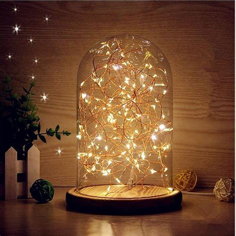 display with lights glass dome light bell jar display wooden base led