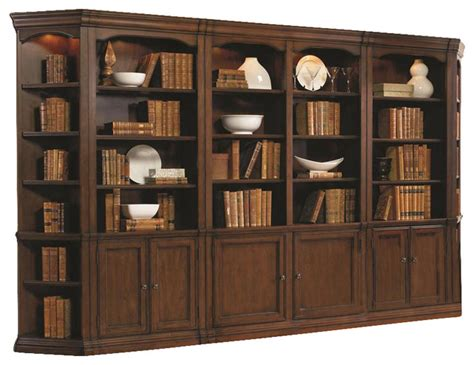 wall to wall bookcases hooker furniture cherry creek wall bookcase traditional