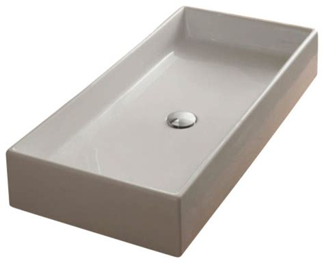Rectangular White Ceramic Vessel Sink-contemporary
