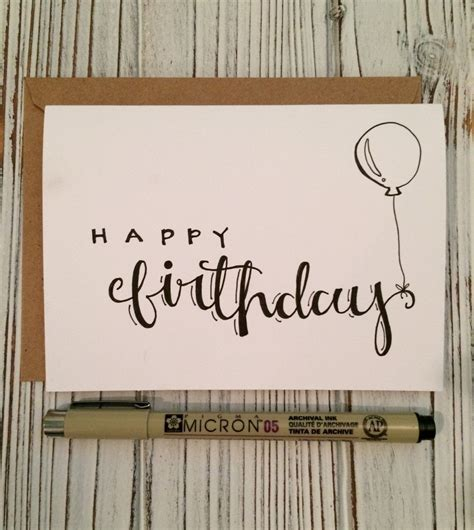 hand lettered set   happy birthday cards  envelope