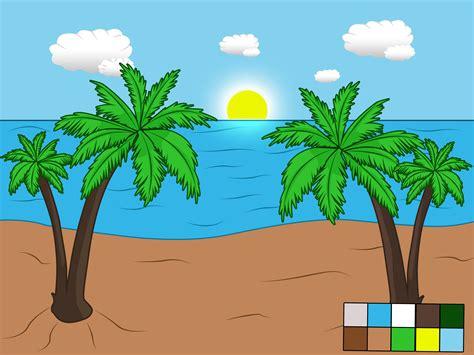comment dessiner  paysage de plage  etapes