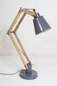 Two arm timber wood desk lamp o id lights for Table lamp with 2 arms