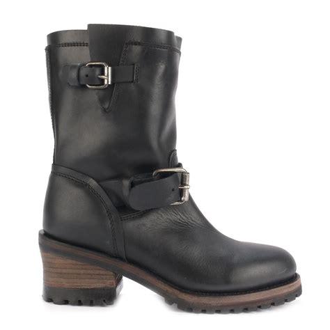Ash SINGLE Biker Boots Black Leather