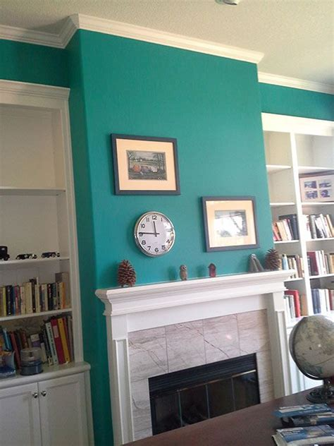 Home Layout With Creative Accent Colours by This Office Accent Wall Was Painted With Sherwin Williams