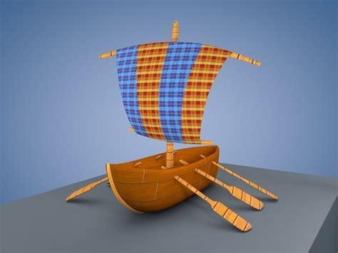 Cartoon Boat C4d by 3d Model Cartoon Boat Vr Ar Low Poly Obj C4d