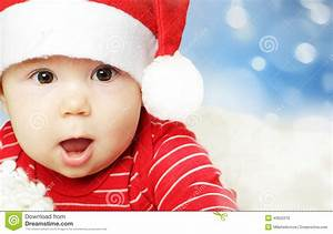 Surprised Baby In Santa Hat Having Fun, Christmas Stock ...