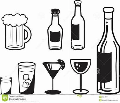 Drink Outlines Alcoholic Illustration Cocktail Vector