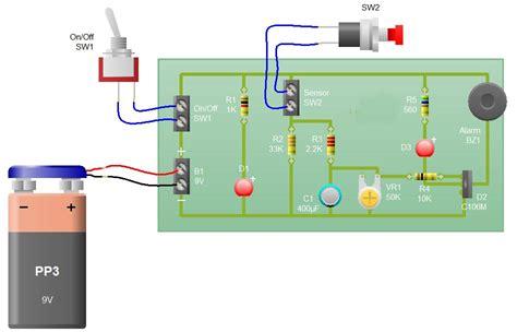 Sensor Alarm Using Thyristor Basic Electronic Project