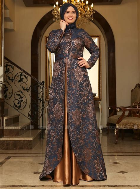brocade evening dress navy blue copper saliha