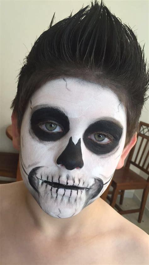 kids skeleton face paint  halloween skeleton costume face painting halloween kids skeleton