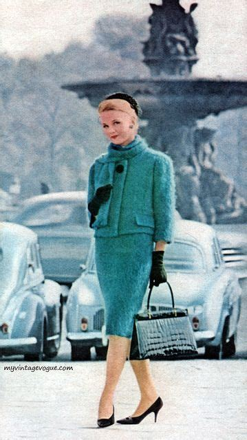vogue  blue green turquoise suit outfit jacket skirt