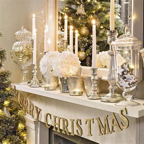 christmas living room  silver  gold mantel display