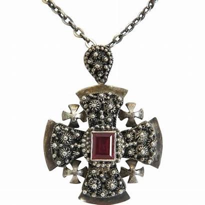 Cross Jerusalem Pendant Victorian 19th Sterling Century