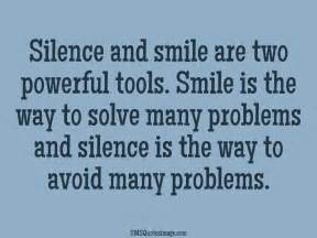 silence and smile wise sms quotes image