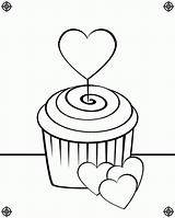 Cupcake Coloring Pages Cupcakes Drawing Birthday Heart Line Screen Clipart Icolor Waving August Sprinkles Printing Paste Eat Designs Popular sketch template