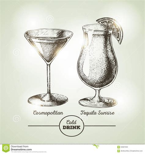 vintage martini cocktail sketch stock vector image 59587033
