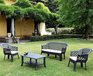 Salon De Veranda : salon de jardin bas veranda anthracite avec coussins oogarden france ~ Teatrodelosmanantiales.com Idées de Décoration