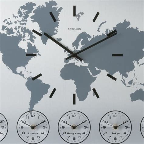 karlsson world time wall clock main time displayed world map