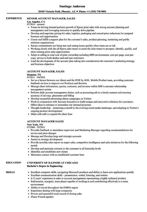 account manager sales resume samples velvet jobs