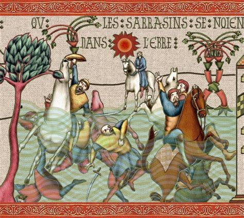 la chanson de roland page 13 charlemagne vengera les morts les sarrasins se noient dans l