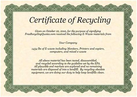 certificate of disposal template certificate of recycling