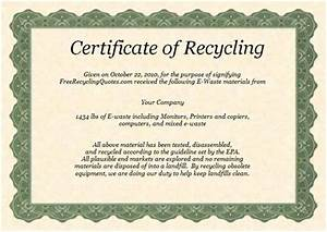 certificate of recycling With certificate of recycling template
