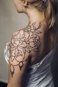 Vintage flowers and lace tattoo by Family Ink. Shoulder ...
