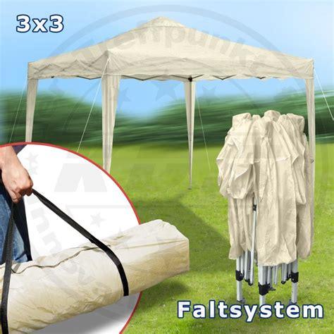 Faltpavillon 3x3 Metall Garten Pavillon BEIGE Stahl 200D