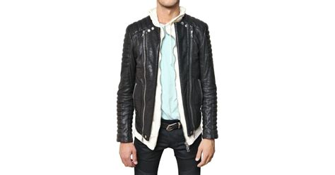 Balmain Goatskin Biker Leather Jacket In Black For Men
